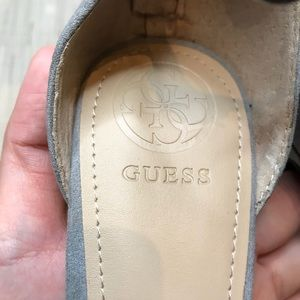 Guess Shoes - Guess Petunia 2 Gray Studded Strappy Suede Heels